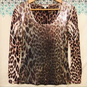 Cache sequence leopard print top Sz S